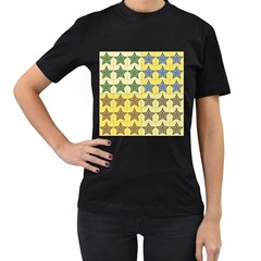 Pattern With A Stars Women s T-Shirt (Black) (Two Sided)