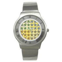 Pattern With A Stars Stainless Steel Watch