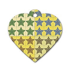 Pattern With A Stars Dog Tag Heart (Two Sides)