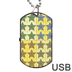 Pattern With A Stars Dog Tag USB Flash (Two Sides)