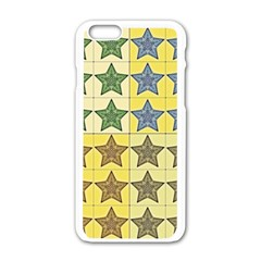 Pattern With A Stars Apple iPhone 6/6S White Enamel Case