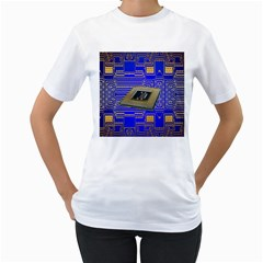 Processor Cpu Board Circuits Women s T-Shirt (White) (Two Sided)
