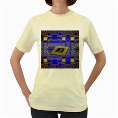 Processor Cpu Board Circuits Women s Yellow T-Shirt