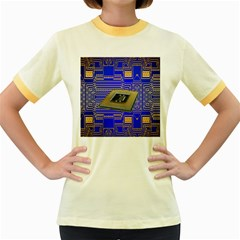 Processor Cpu Board Circuits Women s Fitted Ringer T-Shirts