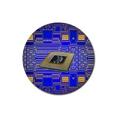Processor Cpu Board Circuits Rubber Coaster (Round)