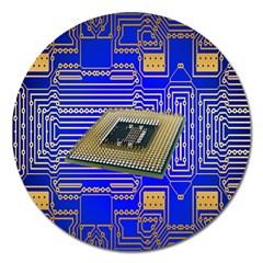 Processor Cpu Board Circuits Magnet 5  (Round)