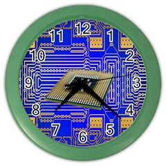 Processor Cpu Board Circuits Color Wall Clocks