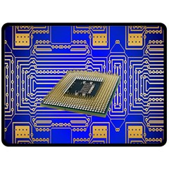 Processor Cpu Board Circuits Fleece Blanket (Large)