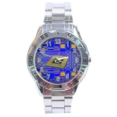Processor Cpu Board Circuits Stainless Steel Analogue Watch