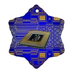 Processor Cpu Board Circuits Ornament (Snowflake)