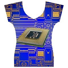 Processor Cpu Board Circuits Women s V-Neck Cap Sleeve Top