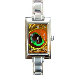Peacock Feather Eye Rectangle Italian Charm Watch