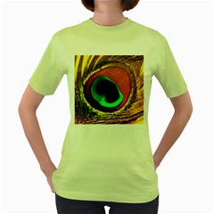 Peacock Feather Eye Women s Green T-Shirt