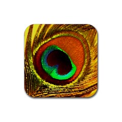 Peacock Feather Eye Rubber Square Coaster (4 pack)