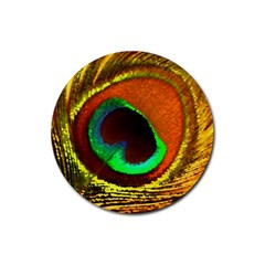 Peacock Feather Eye Rubber Round Coaster (4 pack)