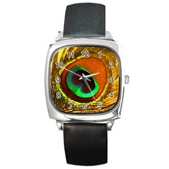 Peacock Feather Eye Square Metal Watch