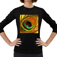 Peacock Feather Eye Women s Long Sleeve Dark T-Shirts