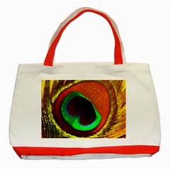 Peacock Feather Eye Classic Tote Bag (Red)