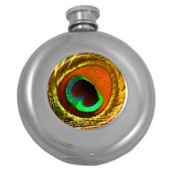 Peacock Feather Eye Round Hip Flask (5 oz)