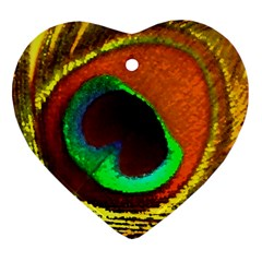 Peacock Feather Eye Heart Ornament (Two Sides)