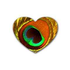 Peacock Feather Eye Rubber Coaster (Heart)