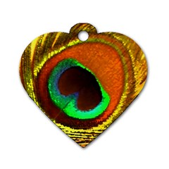 Peacock Feather Eye Dog Tag Heart (Two Sides)
