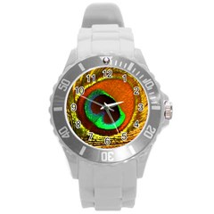 Peacock Feather Eye Round Plastic Sport Watch (L)