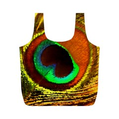 Peacock Feather Eye Full Print Recycle Bags (M)