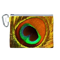 Peacock Feather Eye Canvas Cosmetic Bag (L)