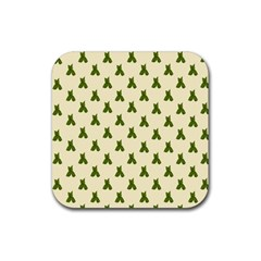 Leaf Pattern Green Wallpaper Tea Rubber Square Coaster (4 pack)
