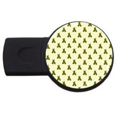 Leaf Pattern Green Wallpaper Tea USB Flash Drive Round (1 GB)