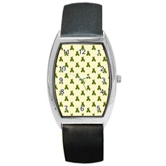 Leaf Pattern Green Wallpaper Tea Barrel Style Metal Watch