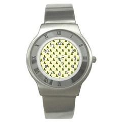 Leaf Pattern Green Wallpaper Tea Stainless Steel Watch