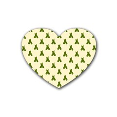Leaf Pattern Green Wallpaper Tea Heart Coaster (4 pack)