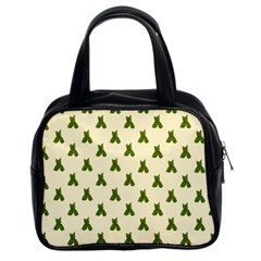 Leaf Pattern Green Wallpaper Tea Classic Handbags (2 Sides)