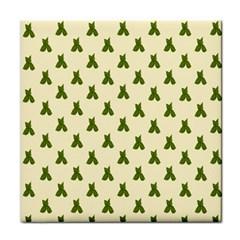 Leaf Pattern Green Wallpaper Tea Face Towel