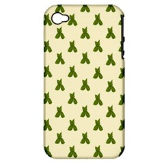 Leaf Pattern Green Wallpaper Tea Apple iPhone 4/4S Hardshell Case (PC+Silicone)
