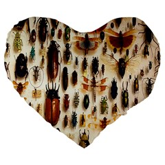Insect Collection Large 19  Premium Flano Heart Shape Cushions
