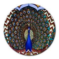 The Peacock Pattern Round Mousepads
