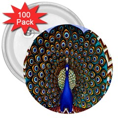 The Peacock Pattern 3  Buttons (100 pack)