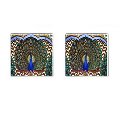 The Peacock Pattern Cufflinks (Square)