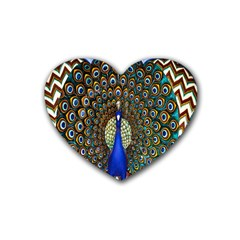 The Peacock Pattern Rubber Coaster (Heart)