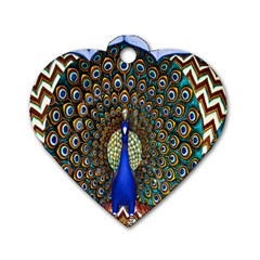 The Peacock Pattern Dog Tag Heart (One Side)