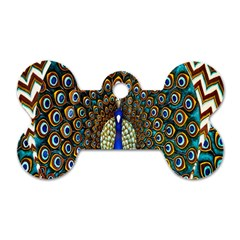 The Peacock Pattern Dog Tag Bone (Two Sides)