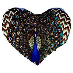 The Peacock Pattern Large 19  Premium Heart Shape Cushions