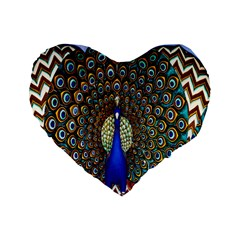 The Peacock Pattern Standard 16  Premium Flano Heart Shape Cushions