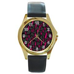 Weave And Knit Pattern Seamless Background Round Gold Metal Watch
