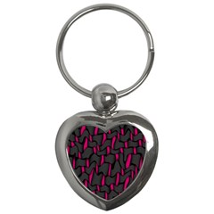 Weave And Knit Pattern Seamless Background Key Chains (Heart)