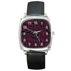Weave And Knit Pattern Seamless Background Square Metal Watch