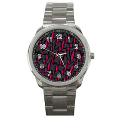 Weave And Knit Pattern Seamless Background Sport Metal Watch